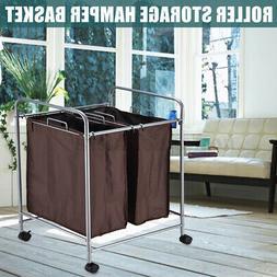 Laundry Hamper Dirty Clothes Washing Basket Bag Trolley Roll