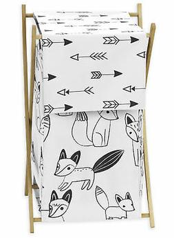Sweet Jojo Designs Clothes Laundry Hamper For Black And Whit