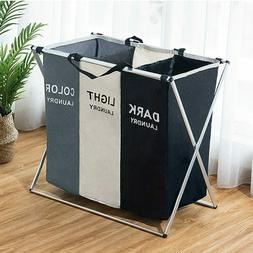 Laundry Hamper Foldable Basket with 3 Grid Section Large Dir