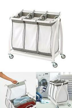Laundry Hamper Sorter Cart 3-Bag Heavy-Duty Tilt Premium Hig