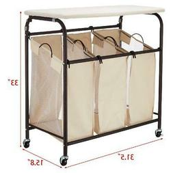 Laundry Hamper Sorter With Ironing Board 3-Bag Rolling Mobil