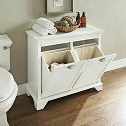 Laundry Hamper Tilt Out Double Bedroom Linen Cabinet White H