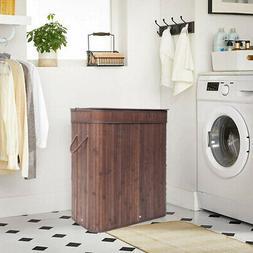 Laundry Hamper Wicker Basket Bin Washing Dirty Clothes Bag B