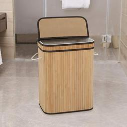 Laundry Hamper with Lid 72L Folding Bamboo Laundry Basket wi
