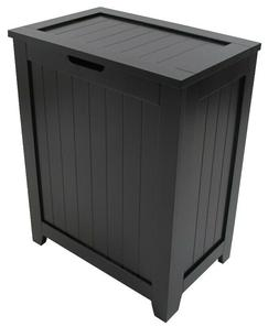 Country Wood Black Laundry Hamper With Lid Bathroom Organize