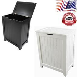 Laundry Hamper With Lid Wood Clothes Storage Bin Bathroom Or