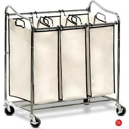 Laundry Hamper With Wheels 3 Bag Sorter Compartment Basket R