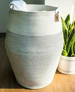 Goodpick Laundry Hamper   Woven Cotton Rope Dirty Clothes Ha