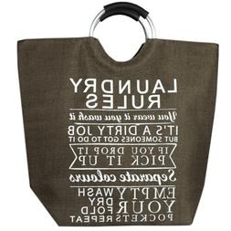 Home Basics Laundry Rules Canvas Hamper Tote with Soft Grip