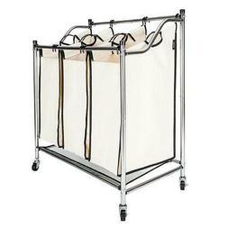 Laundry Sorter 3 Section Bag Basket Bar Hamper Bin Utility C