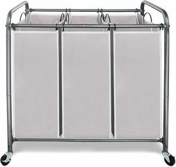 Laundry Sorter 3 Section, Laundry Hamper Cart for Clothes St