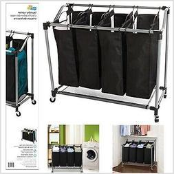 Laundry Sorter 4 Section Basket Bar Hamper Bin Cart Rolling