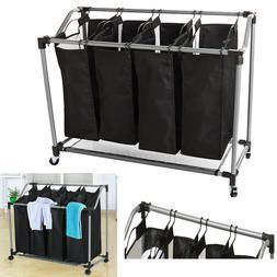 laundry sorter 4 section basket bar hamper