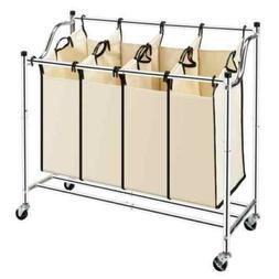 Laundry Sorter 4Section Bag Basket Bar Hamper Bin Rolling  D