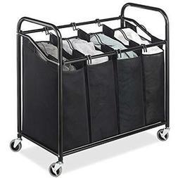 Laundry Sorter Cart 4-Section Hamper Heavy Duty, Durable Met
