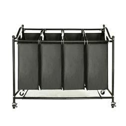 Laundry Sorter Rolling Storage Caster Hamper Carts w/ 4 Bags