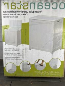 Oceanstar Laundry Wood Clothes Hamper White Finish Storage H