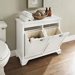 Linen Dual Laundry Hamper White Removable Compartment Cloth