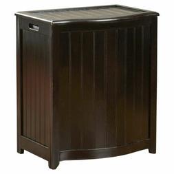 Mahogany Finish Wood Hamper Bathroom Laundry Storage Bin Clo