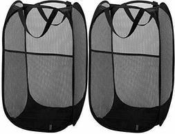 Mesh Laundry Storage Bag Collapsible Laundry Basket Black