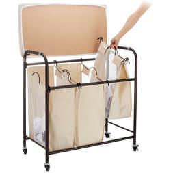 Mobile 3-bag Heavy-duty Laundry Hamper Sorter cart/w ironing