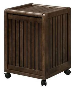 Mobile Rolling Laundry Hamper with Lid in Espresso