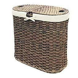 Mocha Hand-Woven Oval Double Laundry Hamper with Removable B