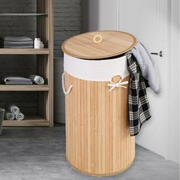 Natural Bamboo Laundry Hamper Basket Dirty Clothes Washing W