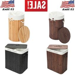 Bamboo Durable Laundry Hamper Clothes Storage Basket Bin Org