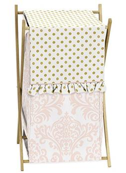 Pink Damask Dots Kid Baby Clothes Laundry Hamper For Sweet J