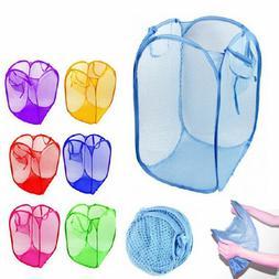 3 Pack Pop Up Folable Laundry Basket Mesh Hamper Washing Clo