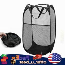 Portable Folding Laundry Basket Hamper Mesh Bag Clothes Orga