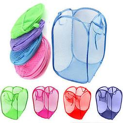 Portable Laundry Bag Basket Pop Up Mesh Hamper Foldable Wash