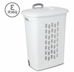 And Pull Handle-NEW Wheels Sterilite-3Pack-Laundry Hamper with Lift-Top