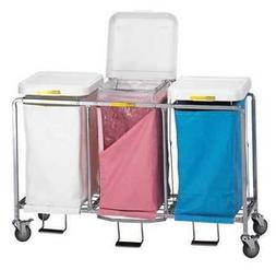 R&B WIRE PRODUCTS INC. 676W Laundry Hamper Cart,3 Comp,Wht,1
