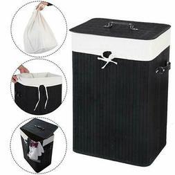 Rectangle Bamboo Hamper Laundry Basket Washing Cloth Bin Ran