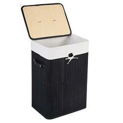 Rectangle Bamboo Laundry Hamper Washing Basket Cloth Storage