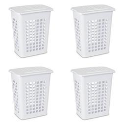 Rectangular LiftTop Laundry Hamper White 4Pack Hinged Lid Ke