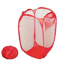Red Mesh Portable Collapsible Laundry Hamper Clothing Bag-Tr