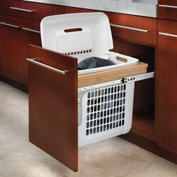 Rev-A-Shelf Top-Mount Hamper Pullout with White Polymer Bin