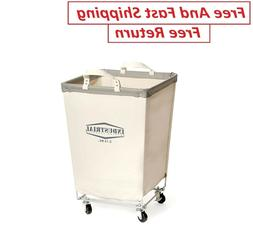 "Rolling Canvas Laundry Hamper Cart 27"" Tall Heavy Duty White"