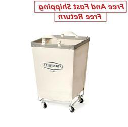 "Rolling Canvas Laundry Hamper Cart 27"" Tall Heavy Duty White"