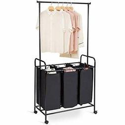 Rolling Laundry Sorter Cart, Hanging Bar Hamper 3 Section He