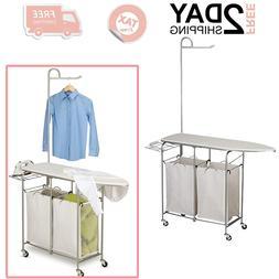 Rolling Laundry Sorter Hamper Bag Basket With Ironing Board