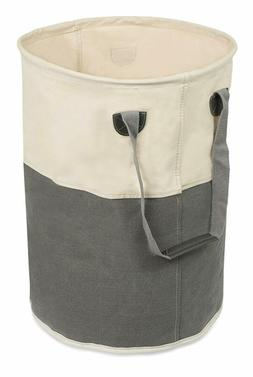 BIRDROCK HOME Round Cloth Laundry Hamper with Handles- Dirty