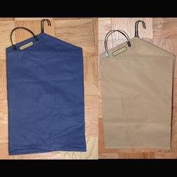 Set of 2 Handy Hamper Hanging Laundry Bags Navy Blue or Khak