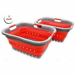 Set PopUp Laundry Hampers Of 2 Collapsible 3 Handled Plastic