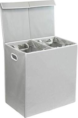 Simplehouseware Double Laundry Hamper with Lid and Removable
