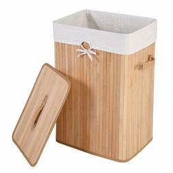 square bamboo hamper laundry basket washing cloth