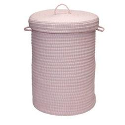 "Ticking Stripe Solids Hamper, 18"" x 18"" x 30"", Pink"